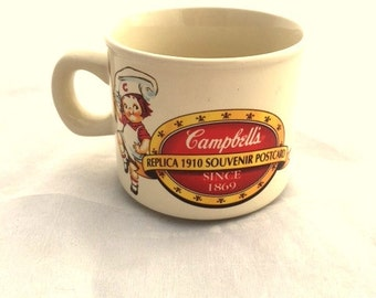 Vintage CAMPBELL'S Kids Soup Mug / 1994 Collectible Replica Edition 1910 / Porcelain Cup With Two Images