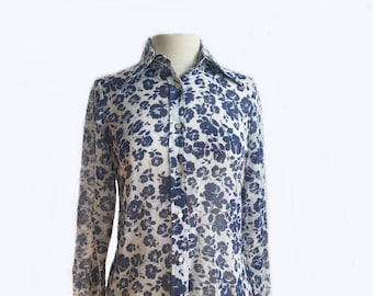 Vintage 70s floral shirt/ white with blue roses/ semi sheer/ Prestige of Boston/ summer blouse/ button down office shirt