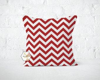 Red Chevron Pillow Cover - Zig Zag Lipstick - Lumbar 12 14 16 18 20 22 24 26 Euro - Hidden Zipper Closure