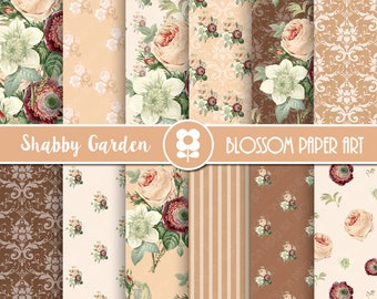 Peach Floral Digital Paper, Rose Digital Paper, Rose Vintage Scrapbook Paper, Shabby Chic Roses, Peach Chocolate Roses INSTANT DOWNLOAD 2016