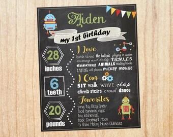 Robot Birthday Chalkboard sign. printable. robot birthday party decorations. boy DIY chalk board print science robots first birthday