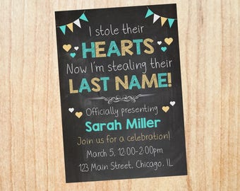 Adoption Party Invitation PRINTABLE adoption announcement invite DIGITAL shower stole their hearts stealing their last name