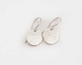 Forged Silver Circles - Sterling Silver Hammered Earrings - Pebble Circle Earrings - Textured Round Earrings - Simple Elegant SS Earrings
