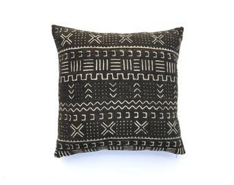 Mudcloth Pillow Cover 20 x 20 | African Mudcloth Textile Black Mudcloth Throw Pillow Mudcloth Cushion Cover Boho Pillow Mudcloth Fabric