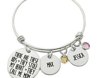 There Are These Kids They Stole My Heart They Call Me Mom Personalized Bangle Bracelet - Engraved Jewelry - Gift  Mom - Mom Bracelet - 1190