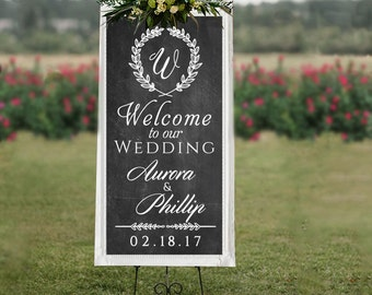 Personalized Welcome to Our Wedding Welcome Sign Decal for Wedding Decor Prop -Wall Decal Custom Vinyl Art Stickers for Weddings, Chalkboard