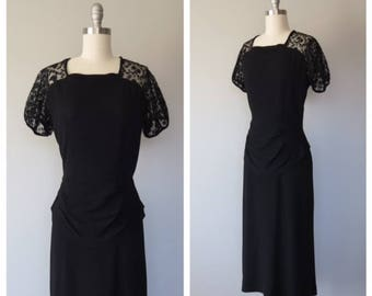 vintage 1940s wool crepe and lace dress size small