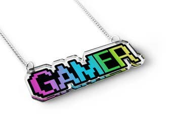 Gamer Pixel Word Necklace - Video Game Jewelry, Gamer Gift, Cute Geekery, Geek Jewelry, Geek Gift, Word Charm