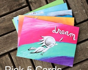 Greeting Cards Variety Pack, Dream Bird Art, Pack of Cards, Mix and Match, Inspirational Greeting Cards, Motivational Greeting Cards