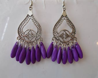 SALE Silver Tone Chandelier Earrings with Purple Bead Dangles