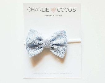 Baby/Girls Baby Blue Lace Bow Headband, Light Blue Lace Hair Bow Clip, Baby Blue Lace Hair Bow by charliecocos