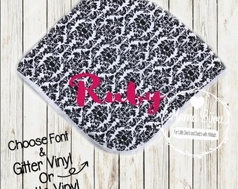 Baby Girl Personalized Blanket, Custom Baby Blanket, Damask Receiving Blanket, Baby Girl Gift, Baby Shower Gift, Choose Your Font and Color!