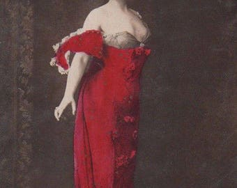 Push Up Bra ... Red Dress - Nothing Seemed To Get His Attention Original Antique Photo Postcard
