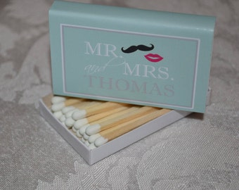 "125 Custom Matchbox Wedding Favors Matchboxes - ""Mr. & Mrs._No Quotes"""
