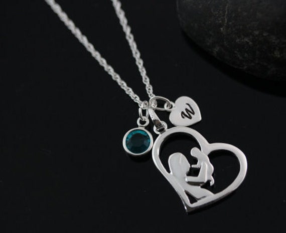 Sterling Silver Mommy and Baby Necklace. Personalized Mothers gift. Mother Necklace. New mom Necklace. Heart necklace. Mother and Son
