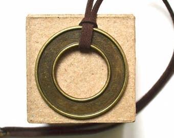 Necklace with Bronze Circle Pendant - Unisex - Minimalist Style - Handmade