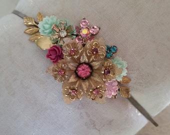 VINTAGE FLORAL BRIDAL Headband Wreath Tiara Assemblage Bride Bridesmaids Flower Girl Hair Accessories Gold Pink Mint Crystal Dainty Wedding