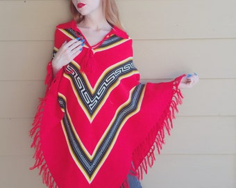 Aztec Boho IKAT Cowichan Cape Knit Poncho Sweater // Women's