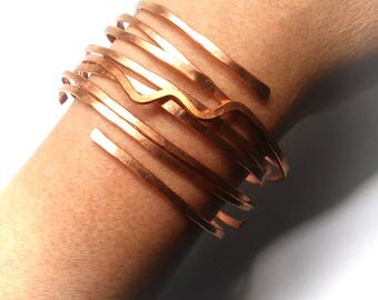 Copper Bracelet Set Natural Raw Copper Boho Bangles Hammered Stacking Bangles FREE UK SHIPPING