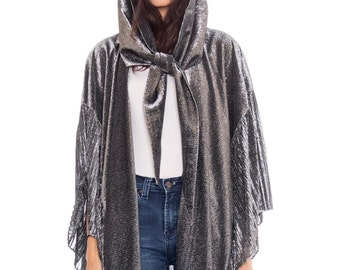 Awesome Slinky Lurex Cape Mantle With Attached Hood Scarf Size: XS-XL