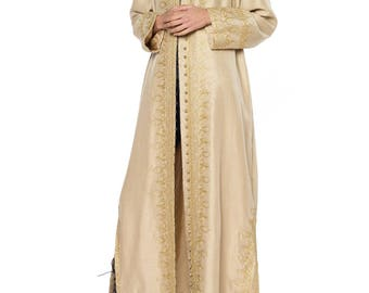 Tan Raw Silk Kaftan With Gold Embroidery And Gold Buttons Size: Free