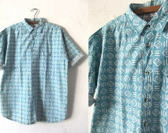 Aqua Blue Squiggles Abstract Shirt - FASHION POLICE 90s Surfer Style Minimal Patterned Short Sleeve Button Down Shirt - Oversize Mens Small