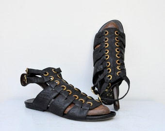 Calleen Cordero Gladiator Sandals - Black Leather Sandals - Leather Gladiator sandals - High End Designer - Summer Beach Festival Boho 8.5