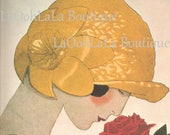 1924 Floral Flapper Digital Print Le Parfum de la Rose André Marty Art Deco Red Garden Yellow Millinery Perfume Printable JPG Image Download