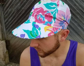 90s Summer Hat, Cotton Flower Print Bright Colors Cap For Men and Women, Unisex Hipster Clothes