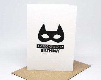Birthday Card Boy - Monochrome Superhero Mask - HBC224 / Wishing you a Super Birthday