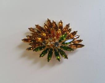 Vintage Rhinestone Brooch - Autumnal Gold Tone Pin