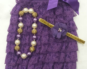 Lace petti romper purple gold ivory flower headband chunky necklace 0-3 months 12-24 months photo prop birthday