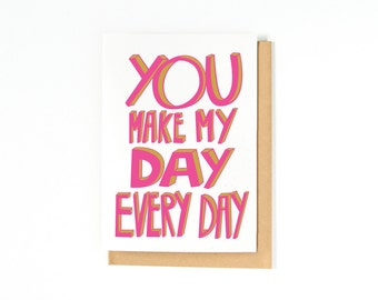 Valentine's Day Card - Romantic Card - I Love You Card - Anniversary Card - Engagement Card - Wedding Day Card - I Love You - Hot Pink