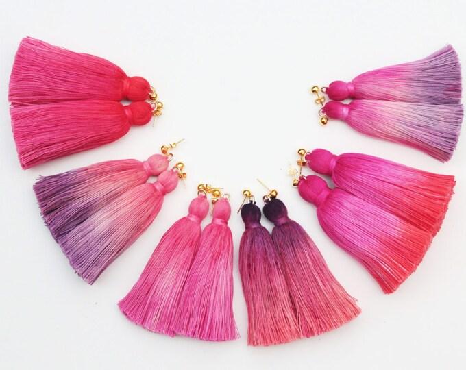Simple one tassel earrings-tie dyed tassels-hand colored jewelry-fun earrings-statement earrings-tassel jewelry-multicolor options/ FRINGY