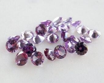 6mm lab Alexandrite round gemstones. violet purple green color changing gems 6mm loose gems