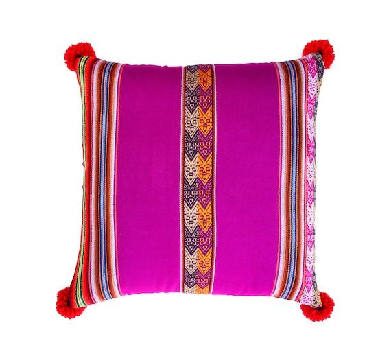 Pillow COVER,  Peruvian textile, purple, pom poms