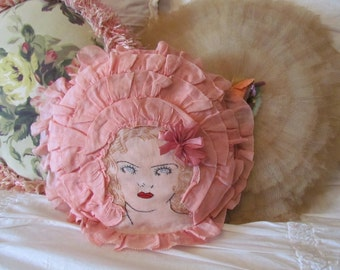 1920's Lady Head Pink Ruffled Boudoir Pillow With Ribbon Work Bow