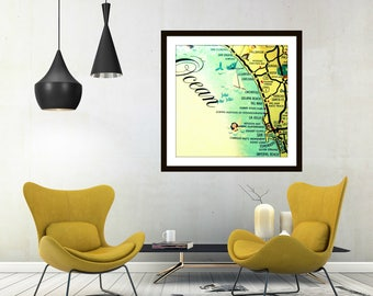 California Wall Art, San Diego Map, Mid Century Map Wall Art, California Map Art California Art Mid Century San Diego Art, Delmar La Jolla,