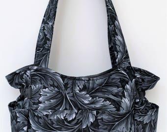 Gray Shoulder Bag, Fall Winter Handbag, Handmade Fabric Bag, Cotton Purse, Tote Bag, Diaper Bag, Fabric Purse, Quilted Tote, Outside Pockets