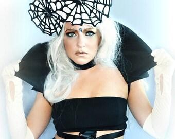 Avant garde web widow CARNIVAL black white headdress tiara headpiece fascinator hat  fashion accessory