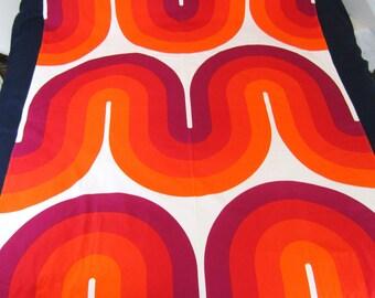 """Vintage MIRA VERNON PANTON Fabric Panel 59"""" wide x 111"""" long Red, oRANGe Magenta"""