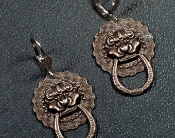 Earrings, Dragon, Lion, Gothic, door knockers, Gargoyle