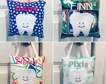 Personalized Tooth Fairy Pillow - Made to Order - Your Choice of Fabrics