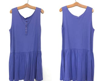 80's Dress 90's Dress Minimalist Dress 80's Jumper Dress Purple Dress Vintage Dress Drop Waist Boho Dress Slouchy Dress Oversized Dress H