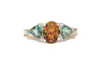 Three Stone Ring, Mystic Stellar Topaz Ring, Green Quartz Accent Stones, Low Profile Ring
