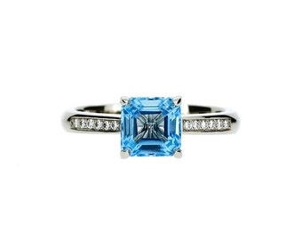 emerald cut Swiss blue topaz engagement ring, white gold, solitaire, blue, thin, square, blue engagement, unique, blue topaz, emerald cut