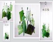 Wind Chime, Stained Glass Chime, Glass Windchime, Mixed Greens. Garden Decor, Home Decor