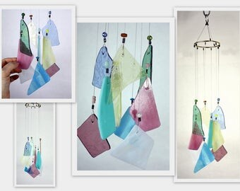 Wind Chime, Stained Glass Chime, Glass Windchime, Multi Color, Garden Decor, Home Decor