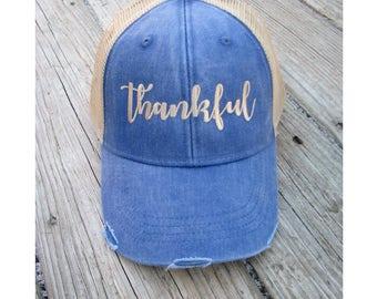 Thankful Hat, Thankful Trucker Hat, Grateful Thankful Blessed, Thankful Apparel, Thankful Baseball Hat, Thankful Cap, Thankful