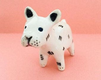 Ceramic dog ornament -- tiny pottery puppy -- ornamental spaniel trinkets -- white patterned dogs -- made to order